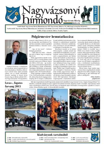 Nagyvázsonyi Hírmondó 2015. tavasz: 1-6. oldal (teljes újsághoz: katt a képre)