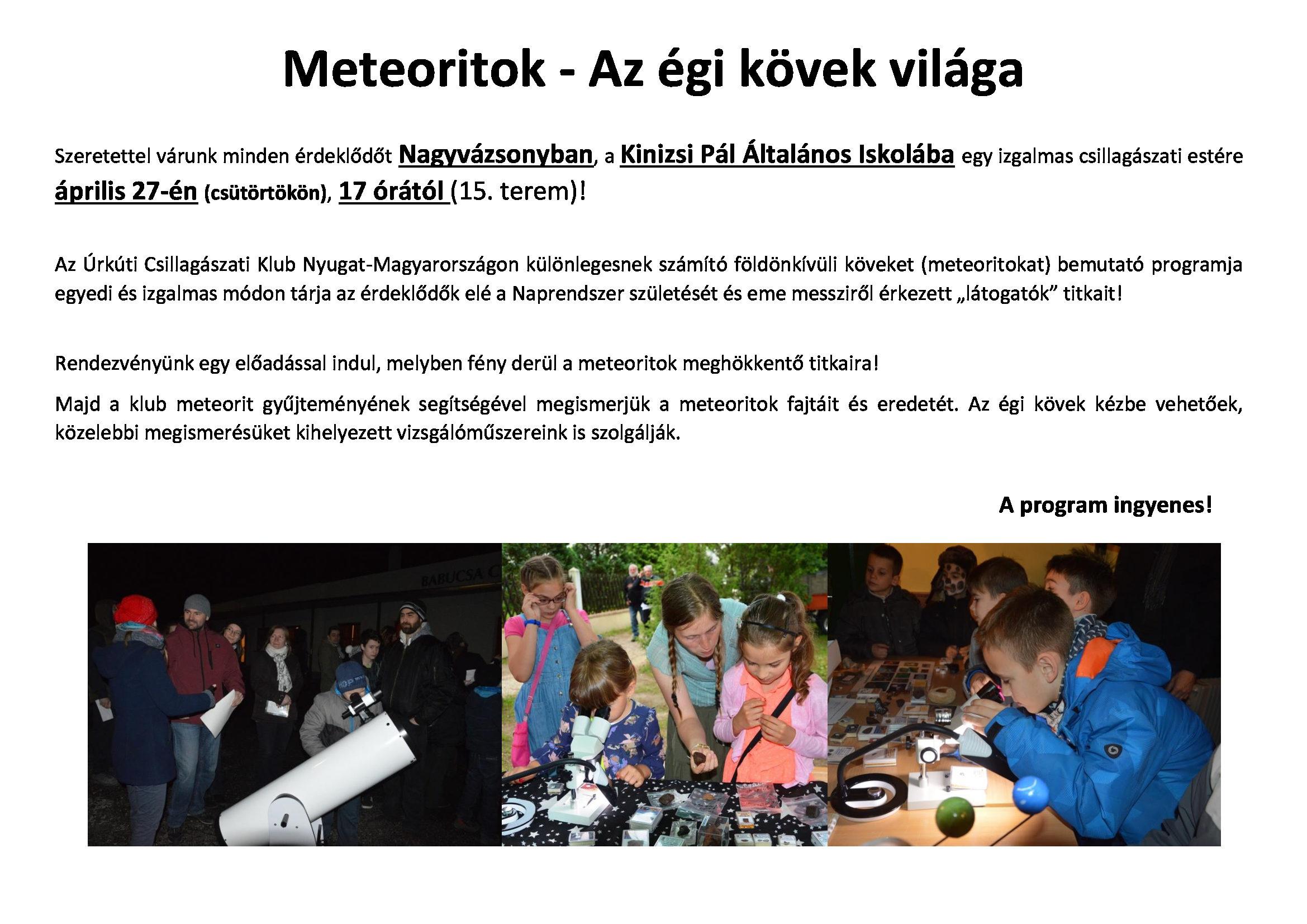 Meteoritok – Az égi kövek világa