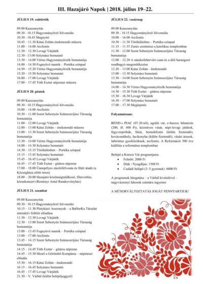 III. Hazajáró Napok programja